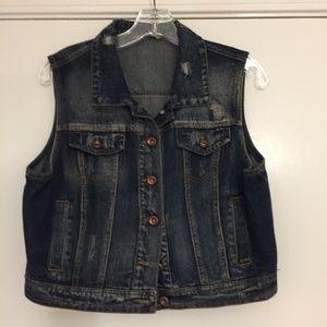 Highway Jeans cropped distressed denim vest